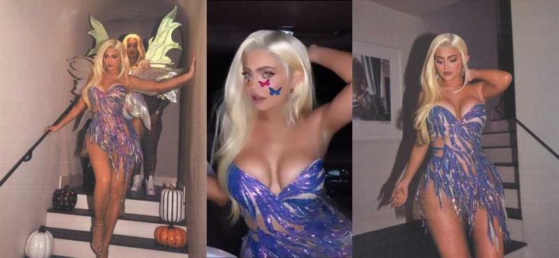 Kylie Jenner göğüs dekolteli mini elbise ile Halloween partide