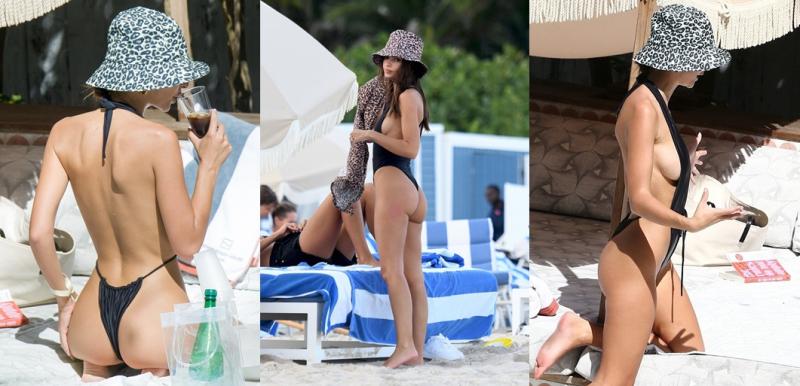 Emily Ratajkowski siyah monokini ile Miami'de