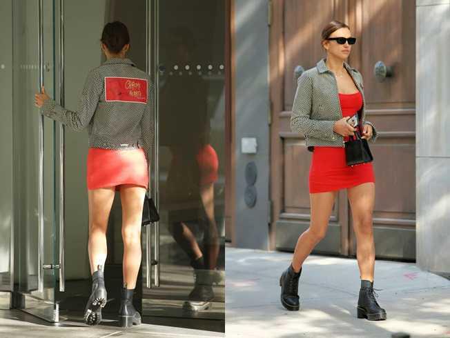 Irina Shayk kırmızı mini elbiseyle New York'ta