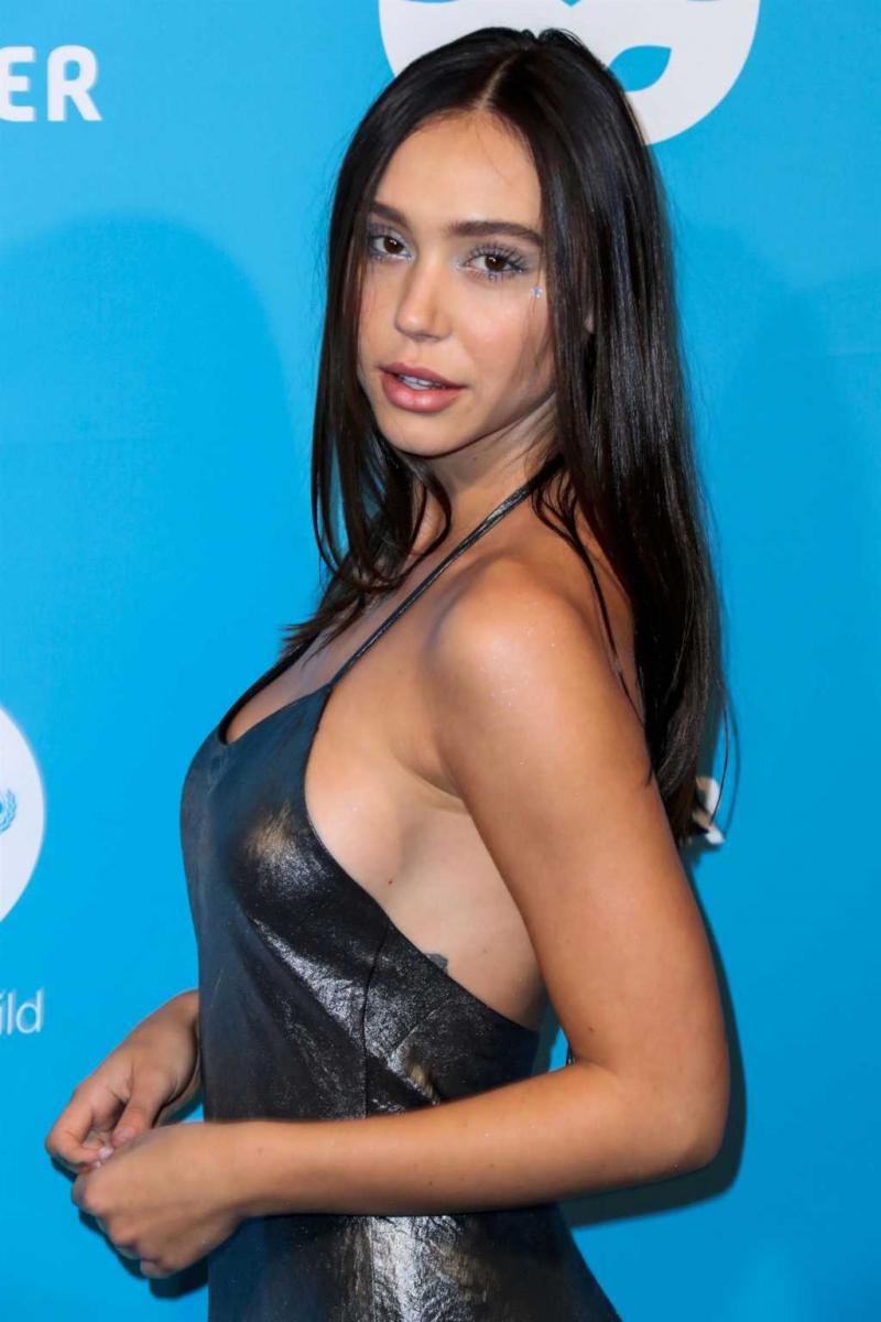 Alexis Ren yırtmaçlı gri elbise ile UNICEF etkinliğinde