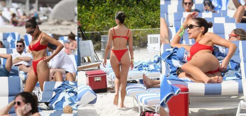 Olivia Culpo kırmızı bikiniyle Miami plajında