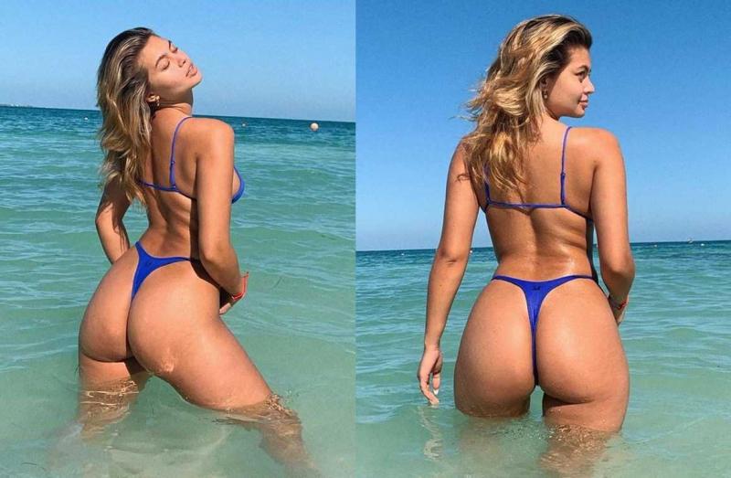 Sofia Jamora lacivert bikiniyle çekimlerde