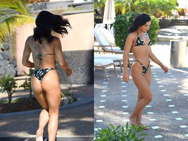 Alexandra Cane bikiniyle havuzda