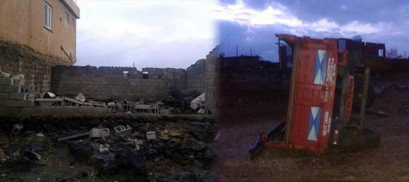 Derik'te evler yıkıldı, traktörler devrildi, ağaçlar kökünden söküldü...
