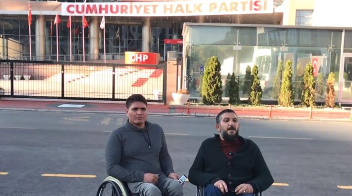 Engellilerden CHP Genel Merkezi önünde açlık grevi