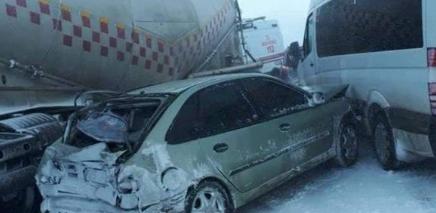 Erzurum'da trafik kazası: Bir ölü, çok sayıda yaralı var