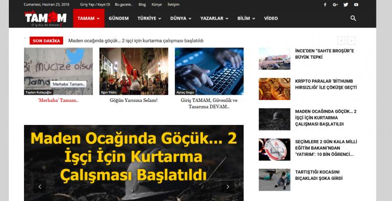 Gazete 'Tamam' yayın hayatına başladı!