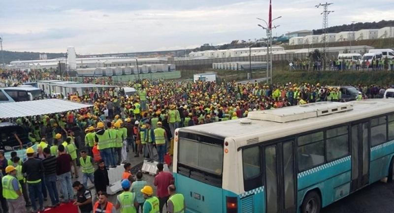 Kötü çalışma koşullarını protesto eden 3. havalimanı işçileri eyleme devam ediyor