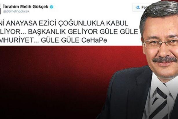 Melih Gökçek'ten 'Güle güle Cumhuriyet' tweetiyle ilgili açıklama
