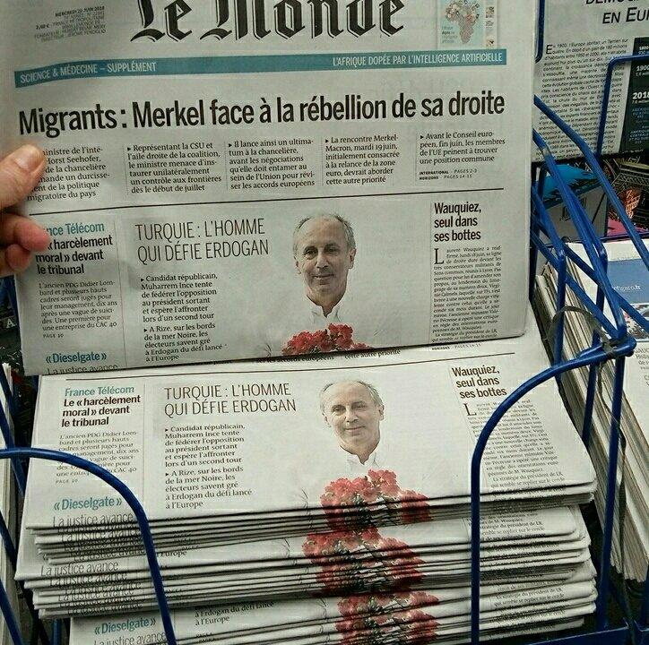 Muharrem İnce, Fransız Le Monde'un birinci sayfasında!
