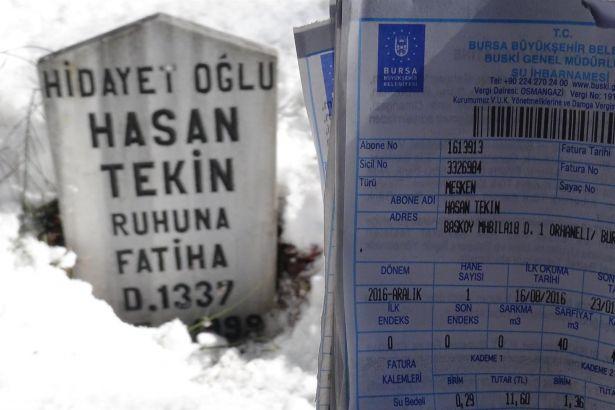 Ölen kişilere su faturası gönderildi