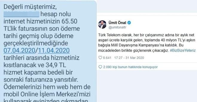 Türk Telekom'dan karantinadakilere 'Ödeme yapmazsınız internetiniz kesilir' mesajı