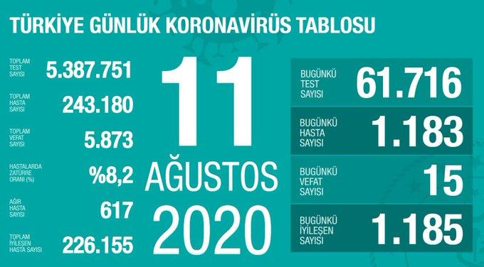 Türkiye'de vaka sayısı 243 bin 180, ölüm sayısı 5 bin 873 olarak açıklandı