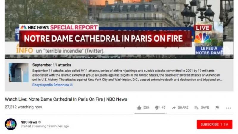 YouTube'un haber teyit uygulaması Notre Dame yangınıyla 11 Eylül saldırılarını birbirine karıştırdı