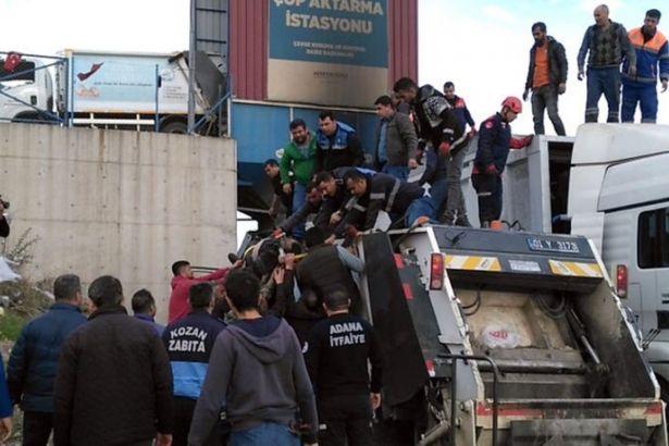 Adana'da çöp konteynerine düşen temizlik işçisi hayatını kaybetti