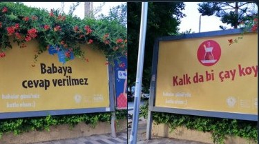 Akdeniz Belediyesi'nin 'Kalk da çay koy' afişleri tepki gördü