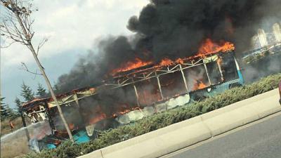 Ankara'da hareket halindeki otobüste yangın