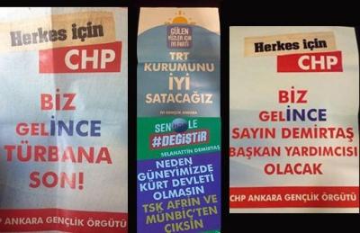 Ankara'da sahte HDP, CHP, İyi Parti broşürleri dağıtıldı!