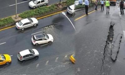 Ankara'da yol çöktü