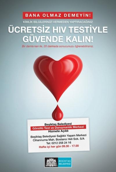 Beşiktaş Belediyesi'nden ücretsiz ve gizli HIV testi!