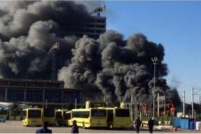 Bursa'da şantiyede yangın