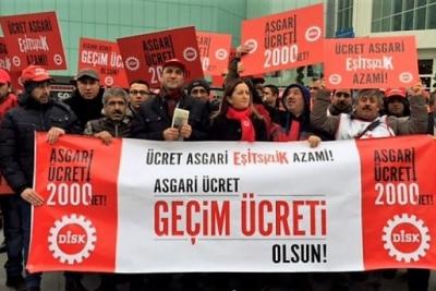 DİSK'ten asgari ücret eylemi: En az 2 bin lira olmalı!