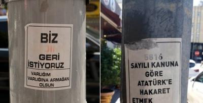 Elektrik direklerine yapıştırılan Atatürk ve 'Andımız' çıkartmalarına inceleme