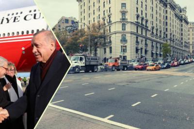 Erdoğan'ın ABD'de kaldığı otelin önü kamyonlarla kapatıldı
