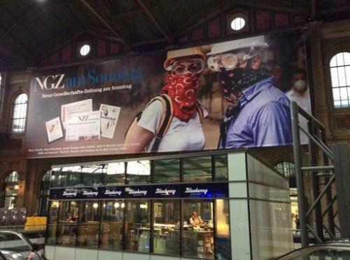 Zürih'te gazete reklamında Gezi göndermesi!