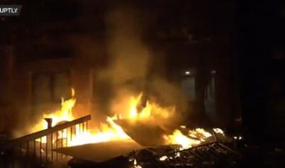 George Floyd'un boğularak öldürüldüğü Minneapolis'te polis merkezi yakıldı