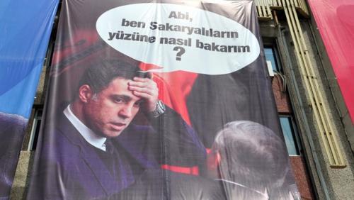 Erdoğan mitinginde Hakan Şükür pankartı!