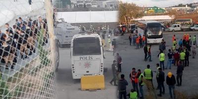 İşçiler polis ve jandarma eşliğinde servislere bindiriliyor