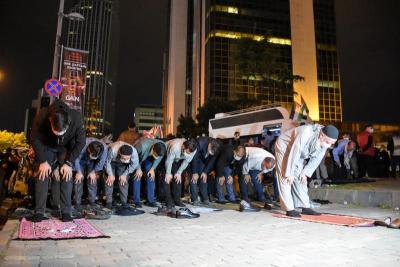 İsrail Başkonsolosluğu önünde Mescid-i Aksa saldırısı protestosu