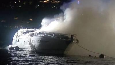 İstanbul Boğazı'nda teknede yangın