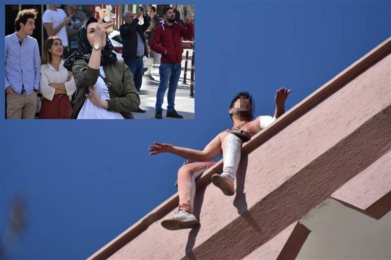 Kendisini jiletledi, intihara kalkıştı, vatandaşlar fotoğraf çekti