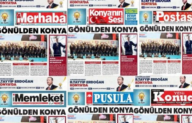 Konya'da Erdoğan'ın ziyareti öncesi 13 gazete aynı manşetle çıktı!