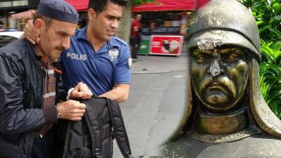 Maçka Parkı'ndaki büstlere baltayla saldıran kişi gözaltına alındı
