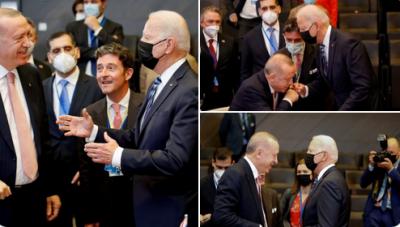NATO Zirvesi: Erdoğan, toplantı başlamadan hemen önce ABD Başkanı Biden'la bir süre sohbet etti