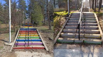 ODTÜ'de gökkuşağı renkli merdivenler griye boyandı