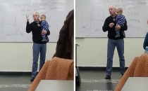 Öğrencisinin ağlayan bebeğini kucaklayıp ders anlattı!