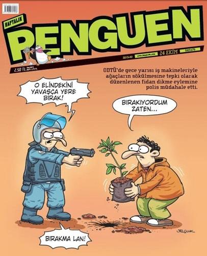 ODTÜ'deki fidan dikme eylemi Penguen'in kapağında!