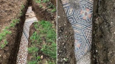 Roma dönemine ait bir villanın zemin mozaikleri bulundu