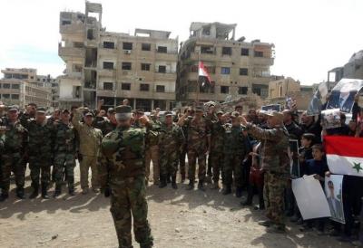 Suriye ordusu cihatçılardan temizlediği bölgede kutlama yaptı!