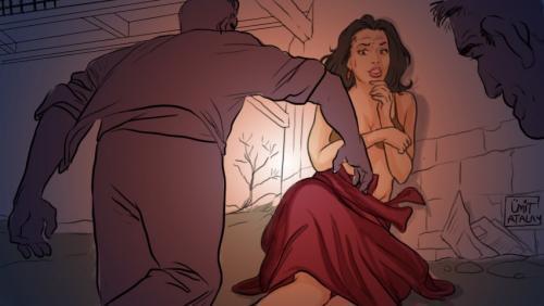 Elbiseyi yırtıp göğüslerini ellediler.. İşte cezası!