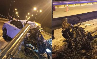 TEM'de bariyere çarpan otomobilin motoru yerinden fırladı: 1 ölü