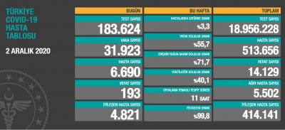 Türkiye'de günlük vaka sayısı 31 bin 923, ölüm sayısı 193 olarak açıklandı