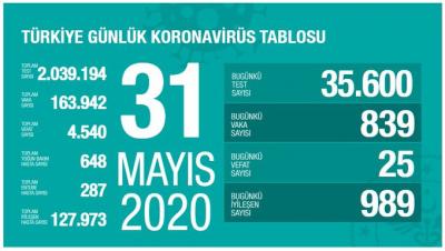 Türkiye'de toplam vaka sayısı 163 bin 942, can kaybı 4 bin 540 oldu