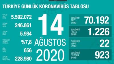 Türkiye'de vaka sayısı 246 bin 861, ölüm sayısı 5 bin 934 olarak açıklandı