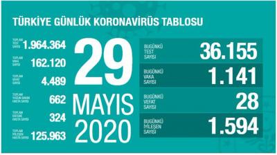 Türkiye'de vaka sayısı 162 bin 120, can kaybı  4 bin 489'a yükseldi