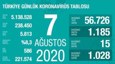 Türkiye'de vaka sayısı 238 bin 450, ölüm sayısı 5 bin 813 olarak açıklandı